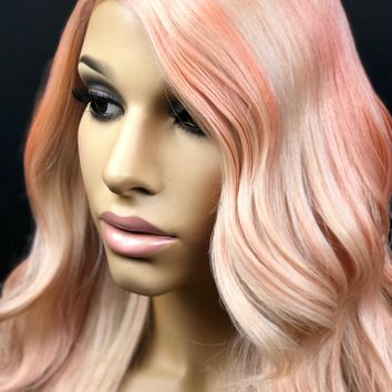 Ombre Rose Gold Wig, Blonde Pastel Pink Wig, Human Hair Blend Lace Front Wig, Heat Safe Heat Friendly Lace Wig