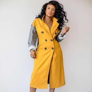 Double Breasted Colorblock Wool Coat
