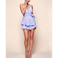 who's that girl frilly open back criss cross romper