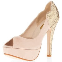 Nude glitter heel peep courts - Heels  - Shoes