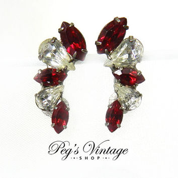 Vintage Clip on Earrings with Ruby Red and Clear Sparkling Navette Rhinestones