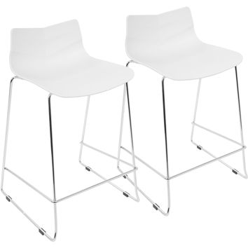 Arrow Contemporary Counter Stools, White (Set of 2)