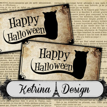 Vintage Happy Halloween Labels Gift Tags instant download