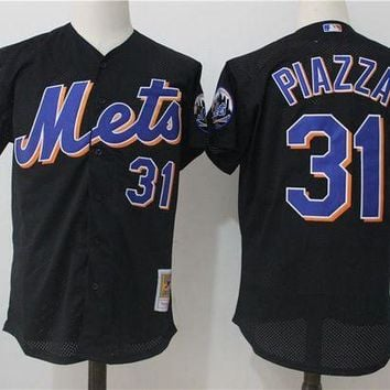 ONETOW Men's New York Mets Mike Piazza Mitchell & Ness Black Cooperstown Collection Mesh Batting Practice Jersey