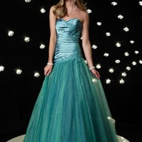 Turquoise Green Strapless Sweetheart Tulle Home Coming Prom Formal Dress HB117A
