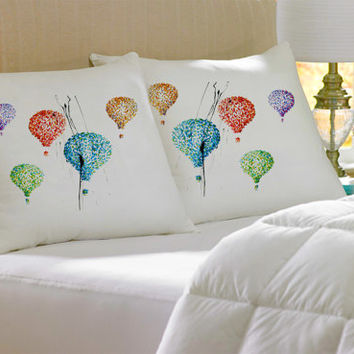 2 Colorful Decorative Hot Air Balloons silk Pillow case pillow cover pillowcase cushion handmade koby feldmos 18X18  20X30 inch white color