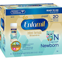 Enfamil  Newborn Baby Formula - 2 fl oz Plastic Nursette Bottles,6 Count (Pack of 4)