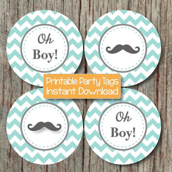 Oh Boy! Tags Little Man Mustache Baby Shower Cupcake Toppers Favor Tags Stickers Labels Light Teal Grey Chevron INSTANT DOWNLOAD PDF 156