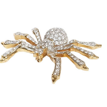 Gold Metal Rhinestone Spider Brooch