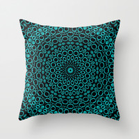 Teal Mandala Throw Pillow by Lyle Hatch | Society6