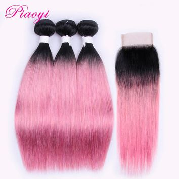 Ombre Brazilian Hair Straight 3 Bundles With Closure Piaoyi 100% Human Hair Bundles With Closure Free Part  OT Rose Pink Remy