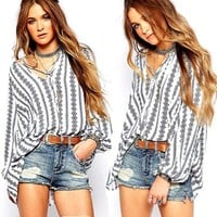 Women Summer Striped V Neck Tops Ladies Fashion New Long Sleeve T-Shirt Casual Loose Tops Women Clothes