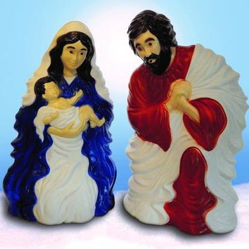 Holy Family Nativity Scene , Lighted, Light Up Outdoor Yard Christmas Decoration Plastic