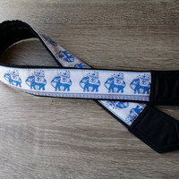 Lucky Elephants Camera Strap. For Birthday. Photo Accessories.  White Blue Camera Strap