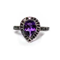 Amethyst pear and black diamond halo black gold alternative engagement ring - Ready to ship size 7 or Resize