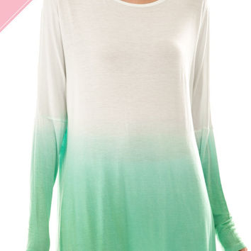 Dip Dye Long Sleeve Top-Available in Several Colors