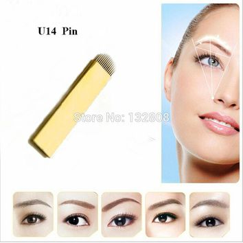 50 Pcs PCD 14 Pin U Shape Permanent Makeup Eyebrow Tattoo Blade Microblading Needles For 3D Embroidery Manual Tattoo Pen