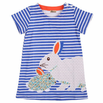 2016 New Lovely Rabbit Kids Baby Girls Clothing Summer Dresses Navy White Striped Cartoon Tutu Cute Dress Outfits 2 3 4 5 6 7y