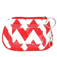 Chevron Zippered ID and Coin Pouch Purse - Faux Leather with Key Ring (Red)