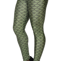 Dark Green Mermaid Leggings Design 231