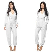 White V-Neck Long-Sleeve A-Line Jumpsuit