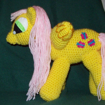 Fluttershy Winged Crochet Pony  Inspired by My Little Pony Stuffed Animal Toy