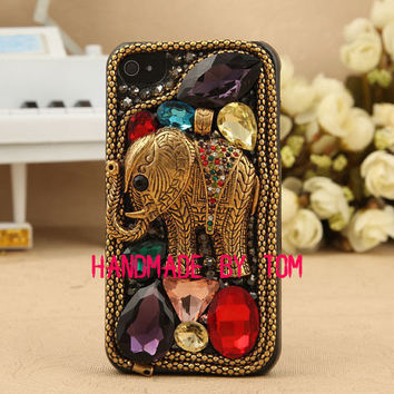 Bling rhintestone elephant iphone 5s case iphone 5c case iphone 5 iphone 4 4s samsung galaxy s5 case galaxy s4 s3 note 2 note 3 mega 6.3 5.8
