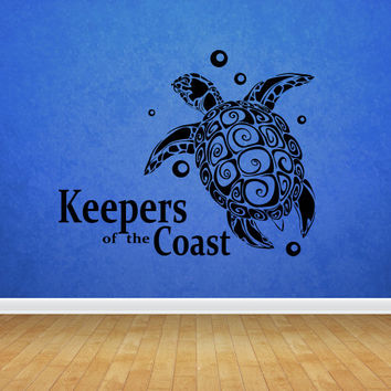Wall decal vinyl art decor sticker design ocean turtle marine animal keeper swim submerge bubbles water mural bedroom (m1074)