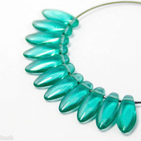 Teal Daggers 12mm (40) Czech Glass Teardrops,  Sea Green Beads