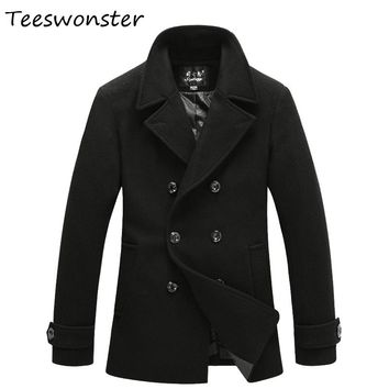 Men Coat Double Breasted Peacoat Manteau Homme Gasalho Casacos Masculino Wool Male Men Jacket Male Overcoat  M - 3XL Overcoat