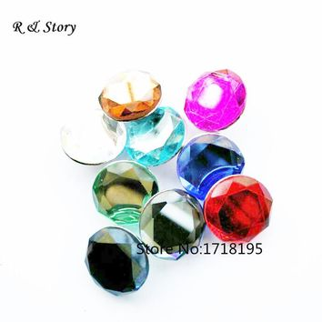 Multicolor Glass Slice Snap Buttons Fit Button Bracelet DIY Round Mixed Charms New 2017