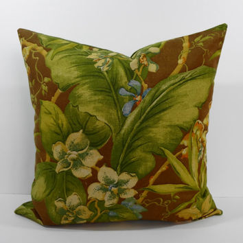 Tommy Bahama Designer Tropical Print Pillow Cover, Decorative Throw Pillow Cushion, Green, Brown, 20 x 20