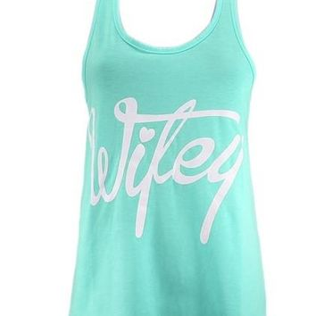 Wifey Letter Print Tank Top Sleeveless Women Summer Vest Backracer Girl Shirt Fitness Loose Tank Top Vetement 2016 Fashion