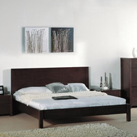 King Size Contemporary Platform Bed with Headboard in Wenge Finish