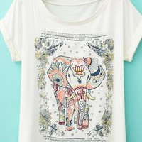 Vintage Lovely Elephant Printing T-shirt