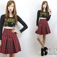 Vintage 90s Grunge High Waisted Plaid Mini Skirt M Tartan Plaid Skirt 90s Skirt Schoolgirl Skirt Skater Skirt Red Plaid Skirt Pleated Skirt