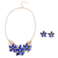 Blue Floral Pendant Necklace and Earrings