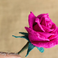 Crochet Rose Pattern and Instructions - Crochet Flower Pattern - Rose for Bouquet and Decoration  - Crochet Pattern - Open Rose