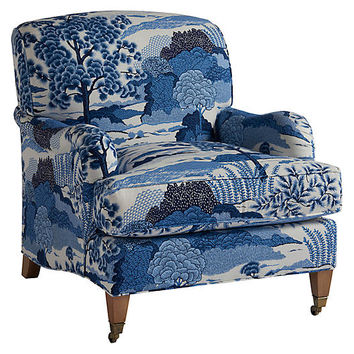 Sydney Club Chair, Blue Chinoiserie Linen - Barclay Butera - Brands | One Kings Lane