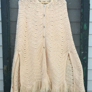 Vintage 70's cute sweater knit crochet poncho shawl wrap 1970s fringe 60s hippie boho cape