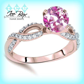 Breast Cancer ring Survivor or Memorial 7mm Round Cultured Pink Sapphire set in a 14K Rose Gold Ribbon Twist Band