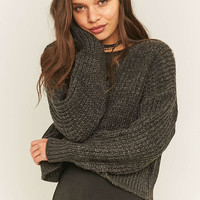 BDG Laguna Grey Waffle Knit Fisherman Jumper - Urban Outfitters