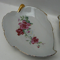 Leaf Shaped Rose Trinket Ceramic Dish A Pair of Gold Trimmed with Delicate Little Shabby Chic Roses on the Ceramic White Background