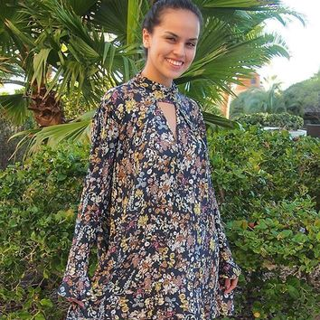 New You Navy Blue Floral Print Long Sleeve Swing Dress