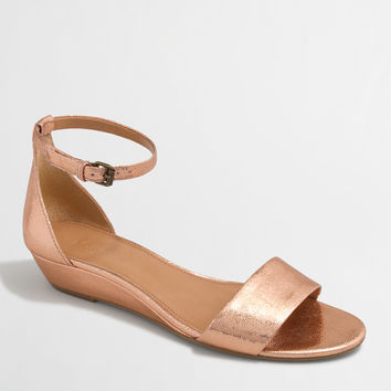 Factory crackle demi-wedge sandals : Sandals | J.Crew Factory