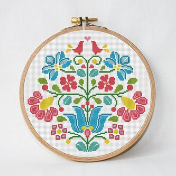 flower modern cross stitch pattern, flowers ornament, national ornament, flower ornament, geometric pattern, folk art, instant download, PDF
