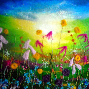 felt wall art, meadow in june wet felted floral art contemporary fibre art