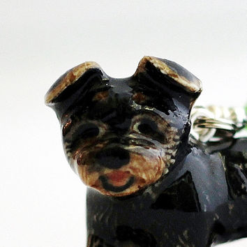 Yorkie Dog Christmas Ornament Yorkshire Terrier Red GreenSwarovsky Crystal Wire Wrapped by Hendywood