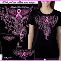 Ladies Fight For A Cure - Pink Foil Ribbon T-shirt