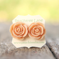 Large Peach Rose Flower Stud Earrin.. on Luulla